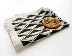 Black Diamonds Tea Towel by Cotton and Flax