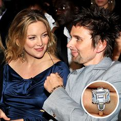 Kate Hudson, engaged to Muse singer Matthew Bellamy, has a sizable emerald-cut sparkler.
