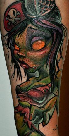 Zombie Pin Up Girl Tattoo - Jimmy Lajnen