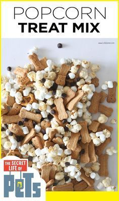 Easy Popcorn Movie Mix that\'s perfect for a pet-themed party or a night in, inspired by The Secret Life of Pets. Cute! #ad #TheSecretLifeOfPets