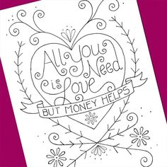 All You Need Is Love Embroidery Pattern. $3.50, via Etsy.