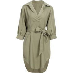 Yoins Khaki Loose Lapel Long Sleeve Shirt Dress (¥2,260) ❤ liked on Polyvore featuring dresses, yoins, khaki, t-shirt dresses, loose shirt dress, collared shirt dress, green shirt dress and collar dress