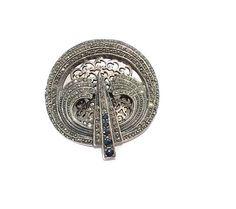Sterling Marcasite Brooch Pendant Art Deco Pendant Pin Blue