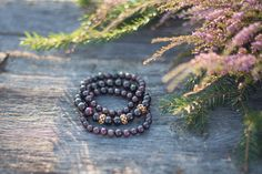 Womens Gemstone Bracelets, Set of 3 Beaded Bracelets, Garnet gemstone bracelet, Stacked Bracelets, Boho Bracelet Set, Beaded Stone Bracelet by MysteriousForests on Etsy