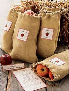 Apples in a burlap bag with a recipe for apple pie. Or add a wooden spoon and a recipe for homemade apple granola. Or both!