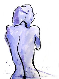 Objection Withdrawn : Sassy Female Nude Watercolor Figure Painting by ArtWithSarah on etsy