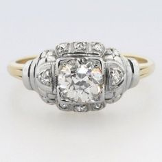 Original Glittering Art Deco 1ctw Engagement Ring | Antique & Estate Jewelry | Jewelry Finds