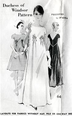 1960s Spadea pattern, Duchess of Windsor cocktail/evening dress with empire waistline and bow detailing.