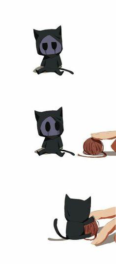 Eyeless Jack, neko, cat, cute, comic, chibi, funny, finger, yarn ball; Creepypasta