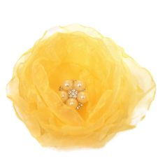 Daffodil Yellow Organza Fabric Flower With Faux by fostersbeauties, $10.00