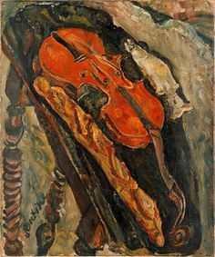 Chaïm Soutine, Still Life with Violin, Bread, and Fish, c. 1922. Oil on canvas, 25 5/8 x 21 1/4 in. Im Obersteg Foundation, permanent loan to the Kunstmuseum Basel. Photo © Mark Gisler, Müllheim. Image © 2015 Artists Rights Society (ARS), New York