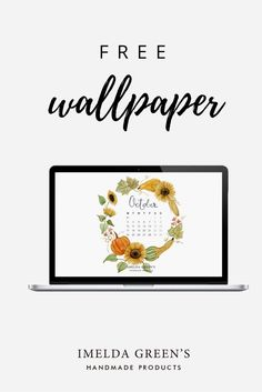 Hand-painted wallpaper calendar for the month of October