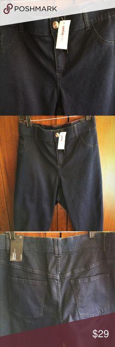 Lane Bryant Dark Navy Skinny Jeans Skims the hip, thigh and calf, Slim leg opening, Cotton/Polyester/Spandex Lane Bryant Jeans Skinny