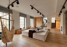 KI Design Studio adds slide to Kiev apartment