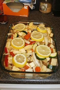 ~ rainbow chicken ~ lots of fresh vegetables (peppers, carrots, onions, potatoes, sweet potatoes), layered with spice rubbed boneless chicken ~ (paprika, cumin, fresh minced garlic, olive oil, dash of vinegar, salt, pepper) ~ cover in lemon slices (1 lemon) ~ seal with foil ~ bake at 425 degrees for at least 45 minutes ~ let rest ~ eat it up! ~