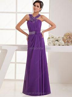 A-line Straps Chiffon Floor-length Beading Prom Dresses#02041832