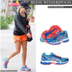 Reese Witherspoon in turquoise and bright orange sneakers going to the gym - Want Her Style #fashion #workout #clothes #gym #sport
