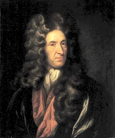 """Portrait of Daniel Defoe. He was famous for writing """"Robinson Crusoe"""". He had a narrow escape in the street when part of a nearby house fell on him during England's worst hurricane on 24 November 1703."""
