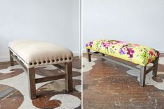 Our client's lovely bench, reupholstered in Timorous Beasties's Butterfly Blur.