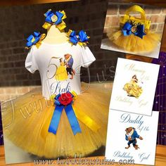 Belle Beauty and the Beast Birthday Tutu Outfit with Free Shipping!