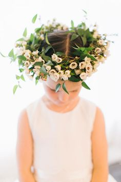 Flower Crown Wedding Hairstyles for Brides and Flower Girls | Photo by: Rebecca…