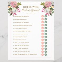 Shop Editable Shower Game Pink Floral Bride Groom Y/N created by beckynimoy. Personalize it with photos & text or purchase as is! Wedding Reception Planning, Wedding Games, Wedding Tips, Event Planning, Wedding Events, Wedding Planner, Destination Wedding, Wedding Stuff, Wedding Activities
