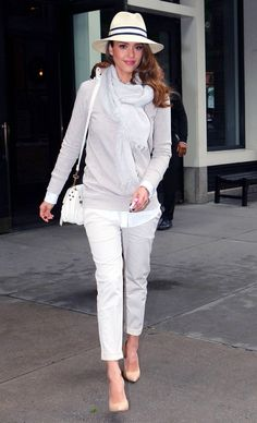 Jessica Alba Wearing Proenza Schouler Pouch In White Casadei Pointed Toe Spring 2011 Sculpted Wedges Joie Bronx Suede Elbow Patch Sweater And Tory Burch