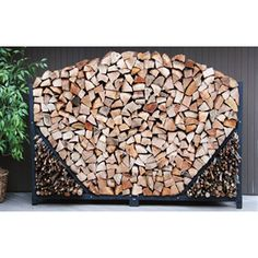 4ft Firewood Storage Rack with Kindling Holder and Cover