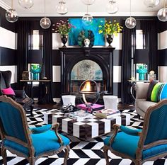 Interior design, decor, chairs, Blue chairs, black and white, style