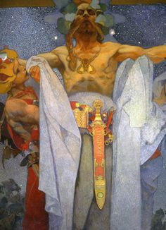 """Alphonse Mucha. """"The Slav Epic"""". detail of one of the monumental canvases."""