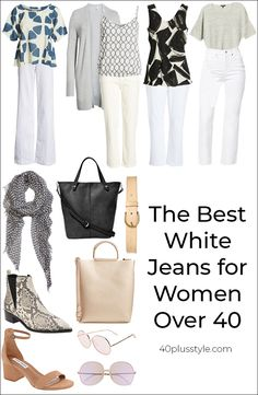Every closet should have a pair. From cropped to skinny, bootcut to wide-legged, here are the best white jeans for women over 40 to choose this season. Best White Jeans, White Jeans Winter, Womens White Jeans, White Jeans Outfit, Jeans Outfit Summer, White Skinny Jeans, Best Jeans, Summer Outfits Women, Jeans Women