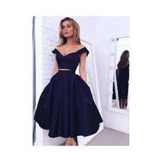 Vintage Style A-line Two-piece Black Homecoming Dresses Gorgeous... (195 CAD) ❤ liked on Polyvore featuring dresses, homecoming dresses, vintage style homecoming dresses, off shoulder dress, cocktail homecoming dresses and vintage style dresses