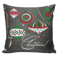 What a bright, festive Christmas pillow Christmas Pillow Cushion Cottage Chalkboard by ElliottHeathDesigns