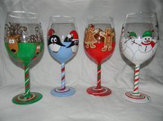 Hand Painted Holiday Wine Glasses | Holiday hand painted wine glasses (set of four) | feelin' crafty