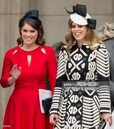 Princess Eugenie of York wearing a Eponine London red dress & Sarah Cant headpiece & Princess Beatrice of York, wearing Burberry coat & Sarah Cant SS 2014 hat, June 2016 Princess Beatrice Wedding, Princess Eugenie And Beatrice, Princess Anne, Duchess Of York, Duke And Duchess, Fascinator, Queen 90th Birthday, Eugenie Of York, Sarah Ferguson
