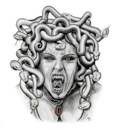 medusa by asussman on DeviantArt Medusa Drawing, Medusa Tattoo, Demon Tattoo, Tattoo Sketches, Tattoo Drawings, Medusa Images, Medusa Kunst, Medusa Hair, Girl Face Tattoo