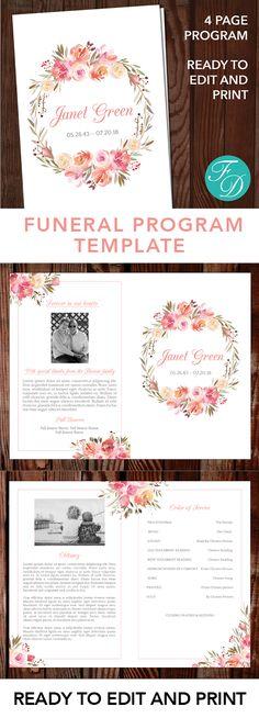 Printable Funeral program template, Celebration of life, obituary - celebration of life templates