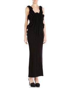YOHJI YAMAMOTO Black Textured Knit Maxi Dress