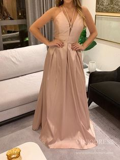Spaghetti Strap Pearl Pink Satin Prom Dresses Deep V-neck Formal Dress – Viniodress