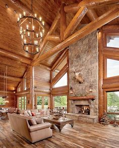Awesome Log Cabin Homes Fireplace Design Ideas 23 Wild Log Cabin Decor Ideas Log Cabin Living, Log Cabin Homes, Cabin Fireplace, Fireplace Design, Style At Home, Log Cabin Kitchens, Log House Kitchen, Rustic Home Interiors, Log Cabin Interiors