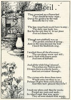 April poem, K Pyle poetry, vintage garden poem, black and white graphics, printable garden clip art Garden Poems, Garden Quotes, April Poems, Nursery Rhymes Poems, Poem Titles, Kids Poems, Months In A Year, Decir No, Quotations