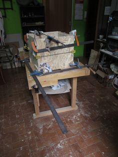 Cubo seduta/contenitore in legno OSB: morsettatura per incollaggio