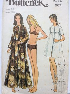 1970s boho chic bikini swim suit and cover up Butterick 6232 Uncut sewing pattern Bust 36 Waist 27 Hip 38 resort beach wear by 101VintagePatterns on Etsy