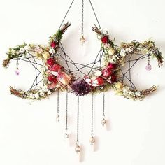 Pagan crafts - Flower crystal crescent moon dream catcher inspired hanging decoration > boho nature decor for the home Boho Dekor, Witch Decor, Pagan Decor, Spiritual Decor, Pagan Altar, Witch Aesthetic, Witchcraft, Diy And Crafts, Creative Crafts
