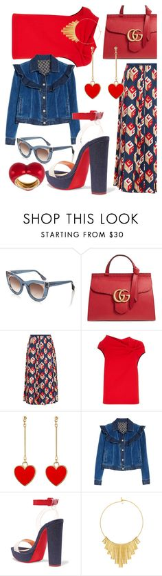 """Heart"" by i-rusche on Polyvore featuring Thierry Lasry, Gucci, Roland Mouret, Rebecca Taylor, Christian Louboutin, BERRICLE and Alison Lou"
