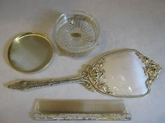 VINTAGE GLOBE 1950's GOLD PLATED VANITY SET COMB, MIRROR, POWDER PUFF CONTAINER