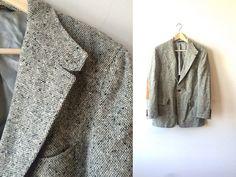 Grey Speckled Suede Elbow Two Button Sportcoat by flickaochpojke