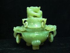 Antiquities Natural Lantian Green Jade Hand Carved Palace Dragon Loong Incense Burner Censer Quality First