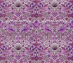 William Morris ~ Strawberry Thief ~ Mulberry Lane by  PeacoquetteDesigns on Spoonflower ~ bespoke fabric, wallpaper, wall decals & gift wrap ~ Join PD  ~ https://www.facebook.com/PeacoquetteDesigns     What can we make for you? http://www.Peacoquette.com