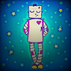 New hand drawn design available on totes and more!  #girl #robot #starry #blue #adorable #art #whatjacquisaid